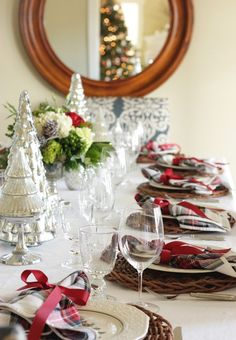 Christmas table decorations with red plaid
