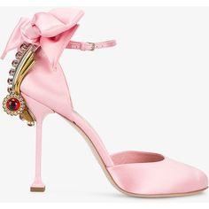 Miu Miu Miu Miu Jewel And Bow Embellished Pumps ($1,067) ❤ liked on Polyvore featuring shoes, pumps, pink pumps, slip on shoes, stiletto pumps, slip-on shoes and pink shoes
