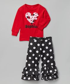 Love this Red Personalized Tee & Black Ruffle Pants - Toddler & Girls by Beary Basics on #zulily! #zulilyfinds