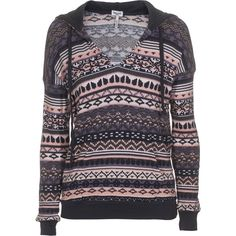 Splendid Breckenridge Thermal Snowbird Printed Jersey Hoodie ($195) ❤ liked on Polyvore