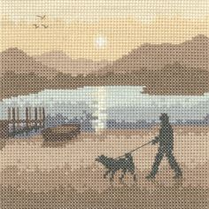 Sunset Stroll - Sepia Cross Stitch kit by Heritage Crafts - … Counted Cross Stitch Kits, Cross Stitch Charts, Cross Stitch Designs, Cross Stitch Embroidery, Cross Stitch Patterns, Cross Stitch Silhouette, Heritage Crafts, Cross Stitch Landscape, Cross Stitch Pictures