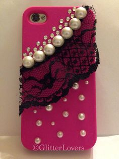 Hot pink crystal, lace & pearl iPhone 4/4s case on Etsy, $22.00 Mobile Covers, Rustic Charm, Iphone 4s, Glamping, Cell Phone Cases, Cell Phone Accessories, Hot Pink, Bling, Pearls
