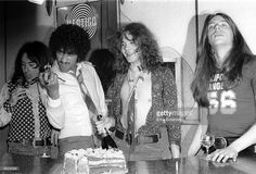Photo of THIN LIZZY and Scott GORHAM and Brian ROBERTSON and Phil LYNOTT and Brian DOWNEY; L-R Brian Downey, Phil Lynott, Brian Robertson, Scott Gorham - posed, group shot