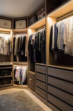 13 Walk-In Closet Ideas | House Method. Note lots of drawers below hanging space.