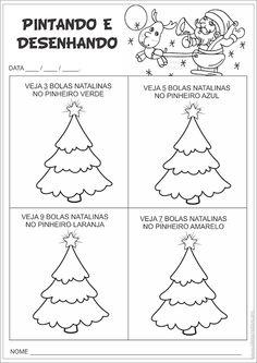 Atividade Cores Números e Quantidades Pinheirinhos de Natal | Ideia Criativa - Gi Barbosa Educação Infantil
