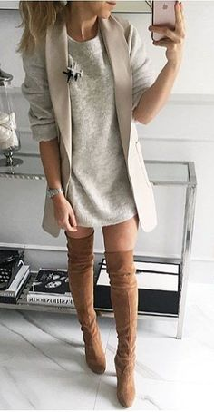 Trench Coat + Grey Dress + Knee Length Boots Source