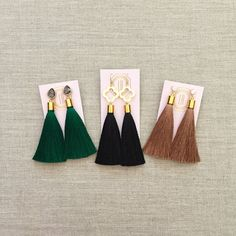 A Loves Affect Original We love these super soft, lightweight tassel earrings for fall! Please select from cubic zirconia studs, smokey grey crystal