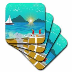 3dRose Margaritas on the Beach Painting, Soft Coasters, set of 8