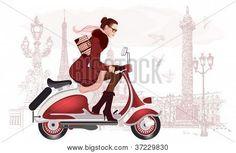 Ilustración de vector de una mujer que conduce un scooter
