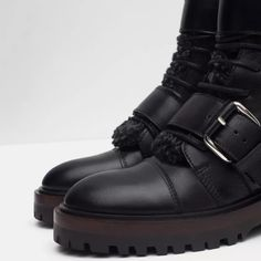 ZARA LEATHER BIKER ANKLE BOOT BLACK Brand new with tags 100% Leather.                           True to size and very comfortable.                         Buckles with silver hardware.                                 Price is negotiable on Ⓜ️$85 Zara Shoes Ankle Boots & Booties