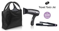 Create your own What's in My Bag pinboard to win a T3 Travel Tools Set, with 3 of my favorite compact-size products that will keep you looking gorgeous wherever you are. One lucky winner will get their own Featherweight Journey Compact Dryer, SinglePass Compact Styling Iron & Reversible Travel Tote!