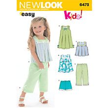 Buy New Look Children's Outfits Sewing Patterns, 6473 Online at johnlewis.com