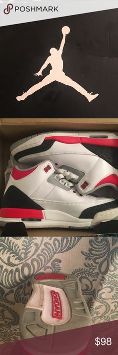 Jordan 3s retro White /fire red -silver black only wear three times brand new in box Jordan Shoes Athletic Shoes
