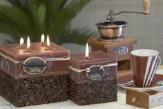 These homemade Coffee Candles are easy and inexpensive to make from paraffin candles, coffee beans, and a box. You can use a juice box. The Coffee fragrance will really lift your spirits! They'll make a gorgeous gift too.