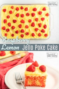 Raspberry Lemon Jello Poke Cake is a cold, refreshing treat! You'll love this moist, tangy lemon and raspberry flavor with light pudding frosting. #raspberry #lemon #raspberrylemon #raspberrylemoncake #cake #raspberrycake #lemoncake #pokecake Desserts For A Crowd, Summer Desserts, Easy Desserts, Delicious Desserts, Raspberry Lemon Cakes, Lemon Jello, Homemade Cake Recipes, Best Cake Recipes, Top Dessert Recipe