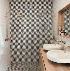 Beautiful patterned tiles are the focus of this bathroom teamed with off-white s. - - Beautiful patterned tiles are the focus of this bathroom teamed with off-white subway tiles and metallic accents Source by shelbytomasik Diy Bathroom, Bathroom Renos, Small Bathroom, Bathroom Ideas, Neutral Bathroom, Bathroom Inspo, Half Bathrooms, Bathroom Closet, Bathroom Cabinets