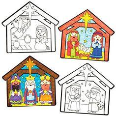 Décorations de la Nativité pour fenêtres à colorier parfaites pour les loisirs créatifs et les décorations de Noël des enfants (Lot de 12)