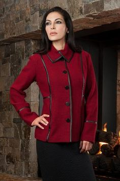 7a40a8c62e Adele Classic Boiled Wool Jacket  Contrasting Trim and Decorative Tab    Button Detailing