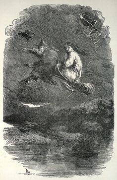 turnofthecentury: oldbookillustrations:The ride through the murky air. Illustration by John Gilbert, from The Lancashire witches, by William Harrison Ainsworth, London, 1897 (?). Engraved by the Brothers Dalziel. Via archive.org.