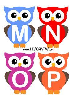 Alfabeto Letra Bastão Corujinhas Alphabet Templates, Alphabet Activities, Owl Labels, Stencils For Kids, Owl Theme Classroom, Canson, Paper Owls, Kids Learning Activities, Pre School