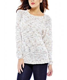 Look at this Cream Speckle Crewneck Sweater on #zulily today!