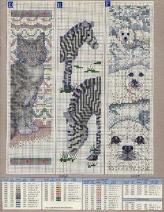 Animal bookmark cross stitch patterns - cat, zebra, sealion