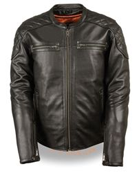 Milwaukee leather motorcycle jacket, scooter style with quilted detailing on the shoulders
