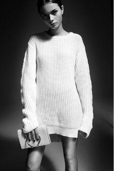 white rib knit jumper