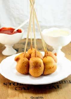 Homemade Corn Dog bites - incl the sauce w/recipe!  http://whitsamusebouche.com/blog/2012/08/22/homemade-corn-dog-bites/