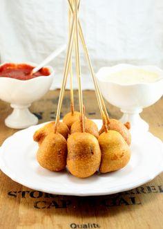 Homemade Corn Dog bites - incl the sauce w/recipe!  http://whitsamusebouche.com/blog/2012/08/22/homemade-corn-dog-bites/