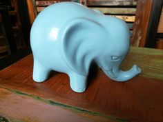 Blue elephant money box, Elephant money pot, Ceramic money box