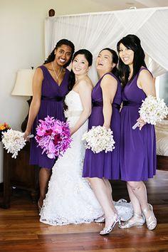 fun purple bridesmaid dresses // Oahu, Hawaii Destination Wedding Goodness // photography by: www.umeusstudios.com/
