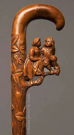 Exceptional carved wood cane depicting a young couple and ivy (symbols of love and eternity), early 19th century | Valentine's collection