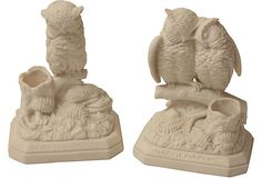 Set of two parian owl statues, modeled after bronze statues by American artist Daniel Chester French. The single owl is modeled after French's Reveries of a Bachelor, and the owl couple is modeled after Matchmaking. Circa 1880.