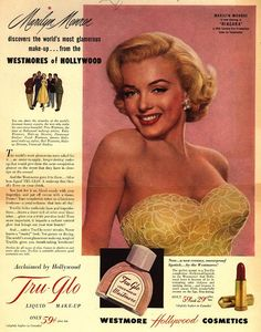 1952 Marilyn Monroe~Hollywood Movie Star Tru-Glo Cosmetics~Make-Up Westmore Ad 1950s Makeup, Vintage Makeup Ads, Vintage Beauty, Retro Makeup, Old Advertisements, Retro Advertising, Retro Ads, Celebrity Advertising, Makeup Advertisement