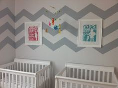 I can't resist a chevron pattern! This designer wanted to create a cheerful yet serene feeling for the room.