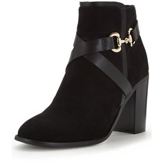 V By Very Claremont Imi Suede Ankle Boot With Gold Buckle Boot (460 MXN) ❤ liked on Polyvore featuring shoes, boots, ankle booties, black suede boots, black bootie boots, black ankle booties, high heel boots and black high heel booties