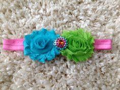 Blue & Green Shabby Flower Infant Headband on by HannahHeadbands, $7.00