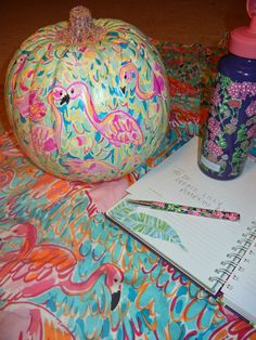 """lilly pulitzer pumpkin in """"peal and eat"""" with pink glitter stem. so cute."""