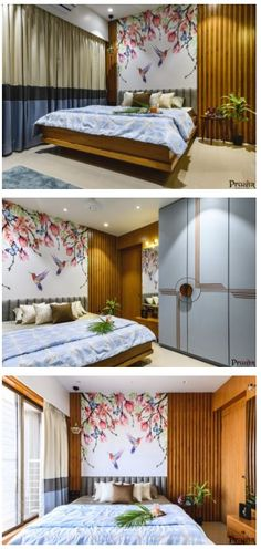 Modern apartment bedroom decor ideas with beautiful wall paper Apartment Wall Art, Apartment Bedroom Decor, Apartment Interior Design, Decor Interior Design, Furniture Design, Interior Decorating, French Door Decor, Living Room Furniture Layout, Bedroom Furniture