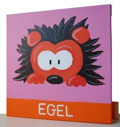 Beestenboel schilderij: Egel. Bestaat uit een serie van negen schilderijen 30cm bij 30cm. Stephanie Fiseler   Unieke, vrolijke, kleurrijke schilderijen voor baby- & kinderkamers
