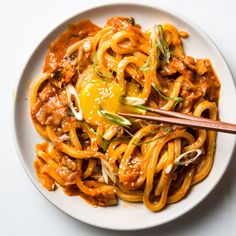 The power trio of butter, kimchi, and gochujang produces an umami ballad so beautiful in this udon recipe, you'll want to play it over and over again. (Kimchi Udon with Scallions Kimchi Noodles, Udon Noodles, Korean Noodles, Gochujang Recipe, Sesame Seeds Recipes, Asian Recipes, Ethnic Recipes, Udon Recipes, Lentil Recipes