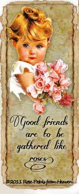 good friends are to be gathered like roses vintage little girl printable