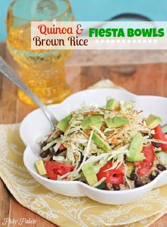 Quinoa and Brown Rice Black Bean Fiesta Bowl by Picky Palate www.picky-palate.com