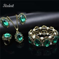 Vintage Wedding Bridal Jewelry Sets Green Crystal Antique Bronze Plated Jewelry Set Necklace Earrings Bracelet Rings