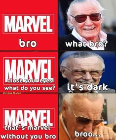 Dec We love and miss you Stan Lee and we know for sure we will never forget you. Dec We love and miss you Stan Lee and we know for sure we will never forget you. Funny Marvel Memes, Marvel Jokes, Dc Memes, Avengers Memes, Disney Marvel, Marvel Dc Comics, Marvel Avengers, Die Rächer, Superhero Memes