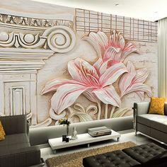 Custom Wall Painting Non-woven Wallpaper 3D Lily Flower Murals Home Interior Decoration Backdrop Mural Papel De Parede Floral 3D #Affiliate