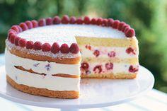 Raspberry Lemon Cream Cake—Tender sponge cake holds layers of fresh raspberries in a creamy lemon filling for this make-ahead dessert.