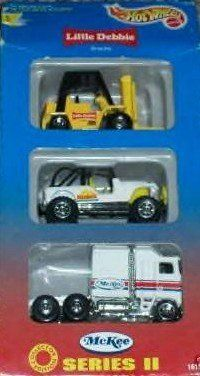 LITTLE DEBBIE SERIES II 3 PACK 1996 HOT WHEELS LTD. ED. by Hotwheels. $2.50. This 3 piece set includes the Little Debbie Tow motor, The Sunbelt foods Jeep, And McKee semi Truck. 1996 Limited Edition Little Debbie mail away By Hot Wheels. Model Truck Kits, Die Games, Custom Hot Wheels, Diesel Trucks, Car Wheels, Semi Trucks, Diecast Models, 7th Birthday, 3 Piece