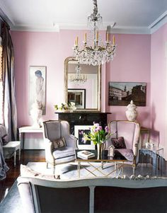 Pinky-lavender wall would be fun for an elegant space like a dressing room. Lends a romantic vibe, especially coupled with a chandelier and baroque-looking pieces.